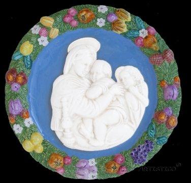 "[S17 N] 17,3/4"" Italian Della Robbia Virgin w child & baby St.John (Madonna of the chair) ceramic"