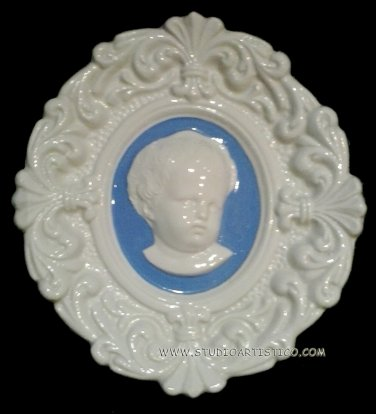 """[S47 N] 7,1/2"""" x 6,1/2� Della Robbia ceramic plaque ANGEL Hand made in Italy"""