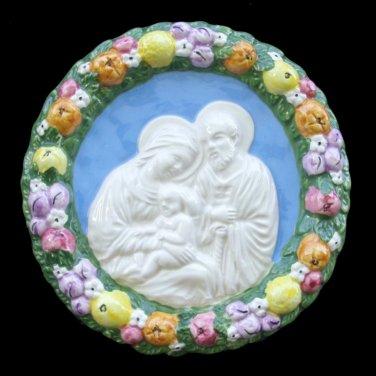 [S148 N] 6,1/4� Holy Family. Italian hand made Della Robbia ceramic wall plaque