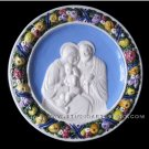 "[S67 NB] 9,3/4"" Italian hand made Della Robbia ceramic wall plaque HOLY FAMILY"