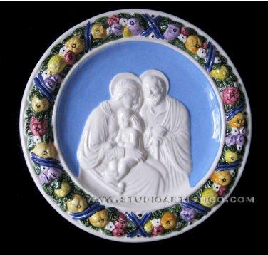 """[S67 NB] 9,3/4"""" Italian hand made Della Robbia ceramic wall plaque HOLY FAMILY"""