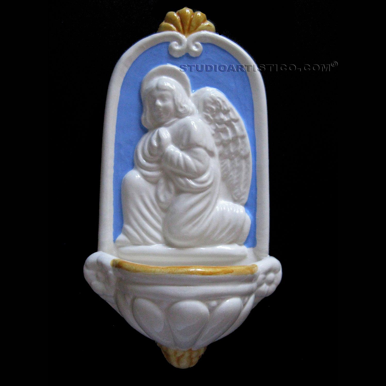 [A03 N] 8�X4�  Italian Della Robbia ceramic HOLY WATER angel