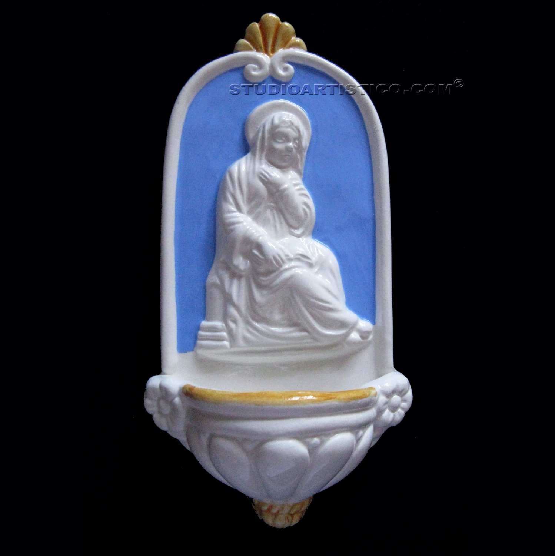 [A04 N] 8�X4�  Italian Della Robbia ceramic HOLY WATER Madonna