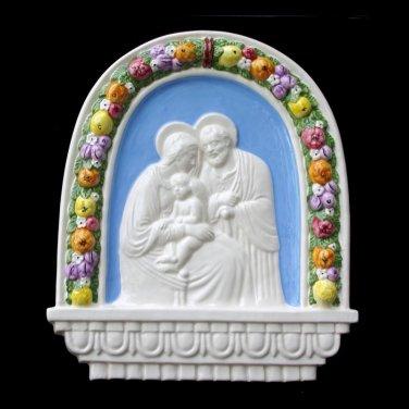 "[S66 N] 10,1/2"" x 9,1/2� Italian hand made Della Robbia ceramic wall plaque HOLY FAMILY"