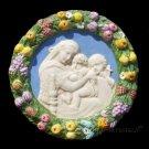 """[S09] 7,1/2"""" Italian Della Robbia Virgin w/ child & baby St.John (Madonna of the chair) ceramic"""