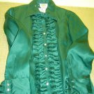 Talbots 100% silk Teal Green Blouse sz 4