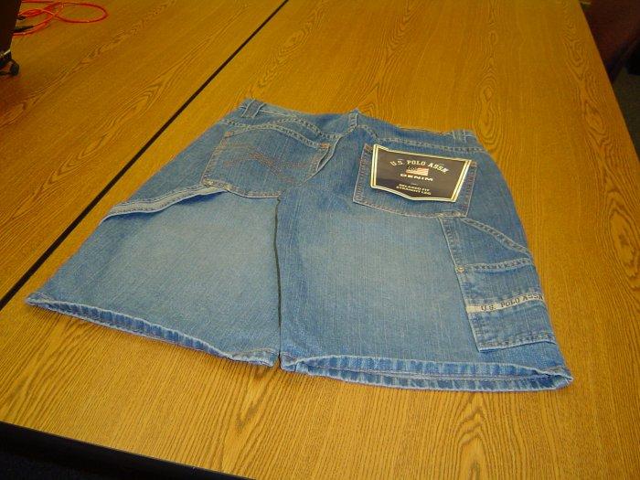 NWT sz 30 Lt Blue Denim Polo Shorts
