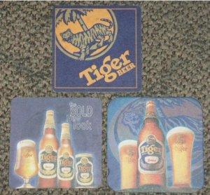 3 different Tiger Beer coasters #C-S6
