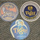 3 Tiger Beer round coasters #A-(Z1)