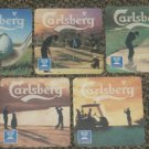 5 Asian Carlsberg Golf coasters set #T-S6