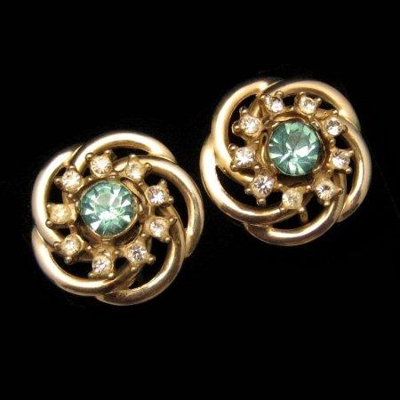 Vintage Jewelry 1950s Aqua Rhinestone Flower Earrings