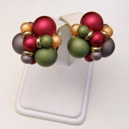 Vintage Chunky Earrings Large Beads Red Green Purple Orange