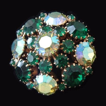 Vintage Signed WEISS Rhinestone Brooch Pin Large Green AB