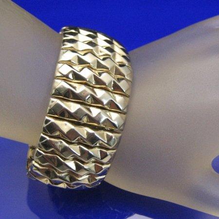JAPAN Vintage Chunky Bracelet Wide Faceted Expansion