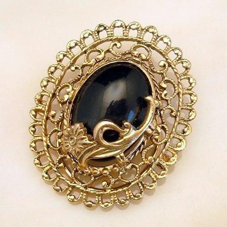Vintage Scarf Dress Clip Goldtone Flowers Large Black Stone Nouveau Style