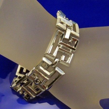 Vintage Bracelet GREEK KEY Design Chunky Wide Shiny Silvertone Links