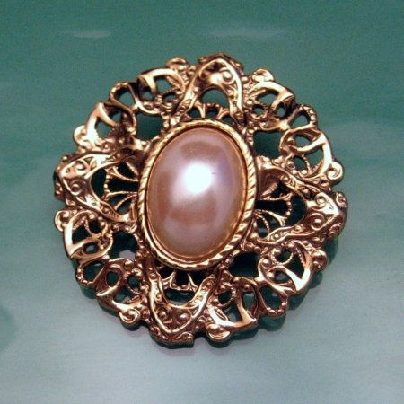 Vintage Brooch Pin Open Work Large Oval Faux Pearl