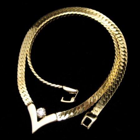 Vintage Necklace Herringbone Chain V Style Rhinestones