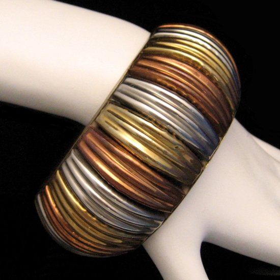 Vintage Bracelet Chunky Wide 8 Inch Cuff Bangle Tri Color Metals