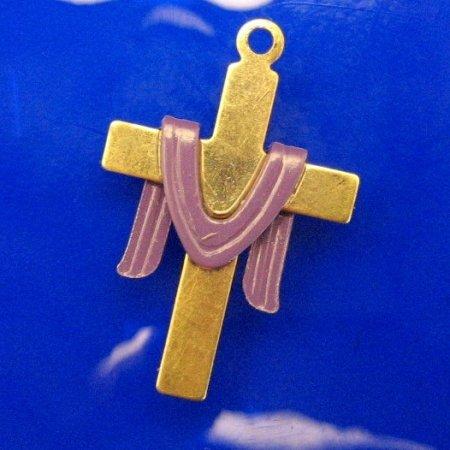 Vintage Cross Pendant Charm Lenten Sash Religious Jewelry