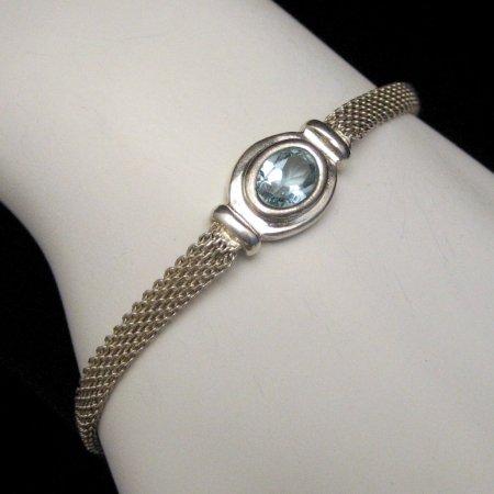 ITALY 925 Vintage Sterling Silver Mesh Bracelet Blue Topaz