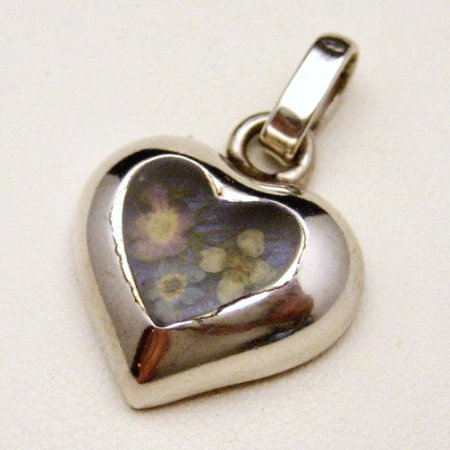 Vintage 925 Sterling Silver Heart Pendant Charm Dried Flowers