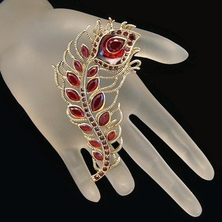 MONET Vintage Brooch Pin Red Rhinestones Poured Glass Large