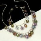 Sterling Silver Crystal Dangle Beads Necklace Bracelet