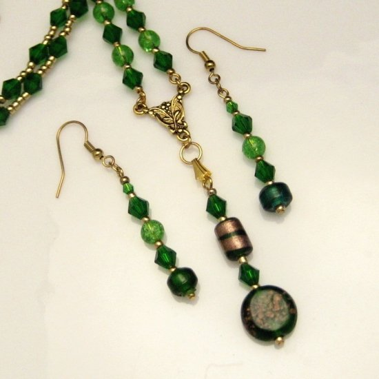 Necklace Earrings Set Green Art Glass Beads Drop Dangle