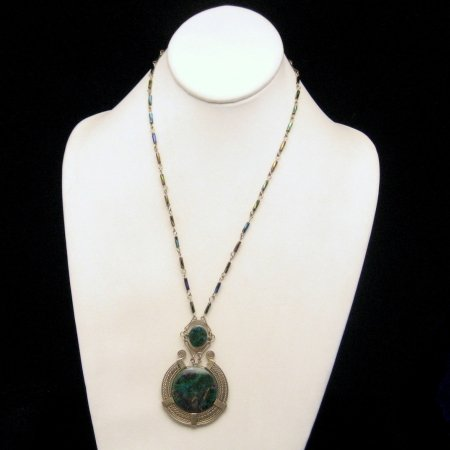 Vtg Pendant Necklace Large Agate Stones Iridescent Bead