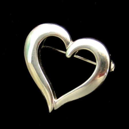 Vintage Heart Brooch Pin Silvertone Pretty Open Design