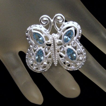 DANECRAFT Vintage Butterfly Brooch Pin Blue Rhinestones