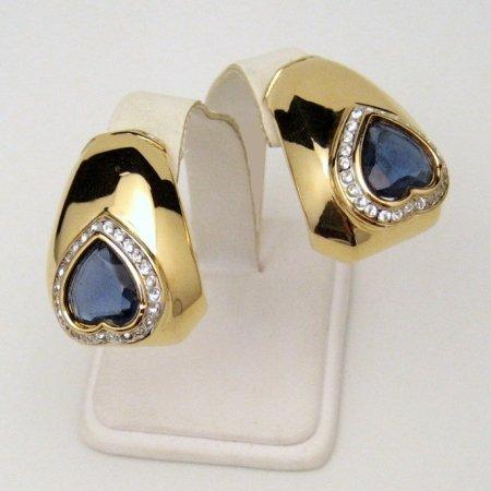 NINA RICCI Vtg Earrings Blue Crystal Hearts Rhinestones