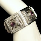 WHITING DAVIS Vintage Wide Bracelet Purple Rhinestones