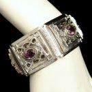 WHITING DAVIS Vintage Wide Bracelet Purple Rhinestones