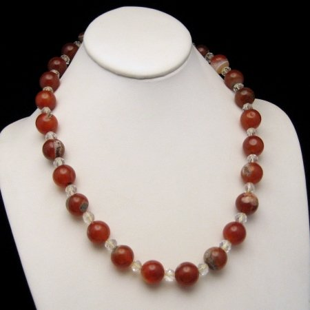 Vintage Chunky Necklace Large Carnelian Beads Crystals