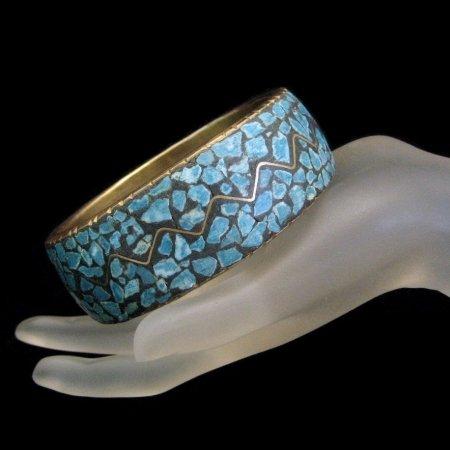 INDIA Vintage Wide Bangle Bracelet Brass Turquoise Mosaic