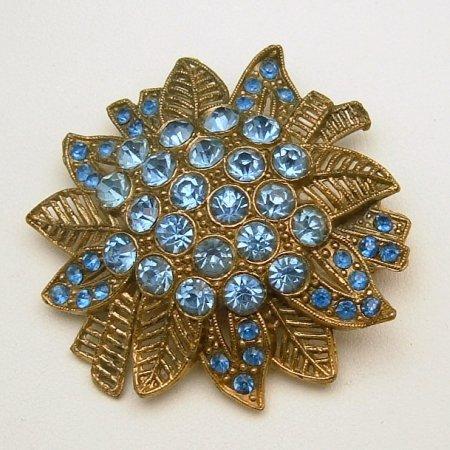 LITTLE NEMO L/N Large Vintage Flower Brooch Pin Blue Rhinestones