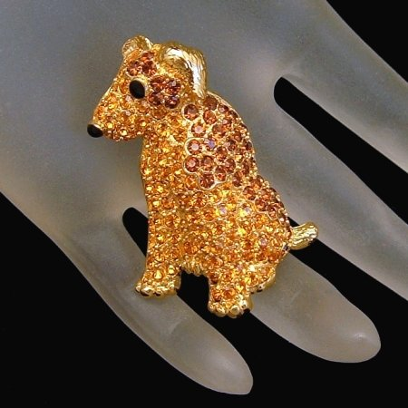 TRIFARI Rhinestone Brooch Pin Airedale Dog Figural Dated Possible Limited Edition