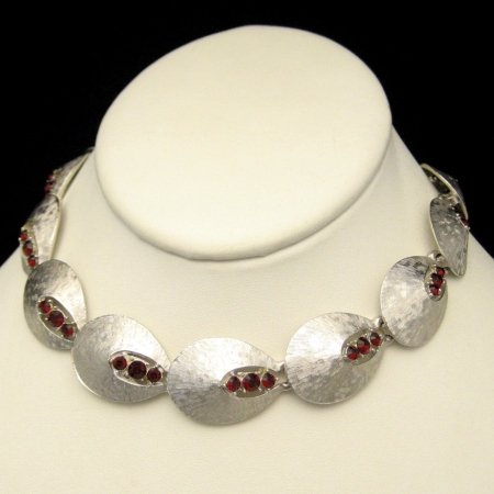 Signed ART Vintage Necklace Choker Red Rhinestones Link