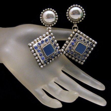 Vintage Chunky Clip Earrings Blue Enamel Glass Beads