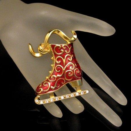 TRIFARI Brooch Pin Convertible Pendant Red Enamel Ice Skate Rhinestones DATED
