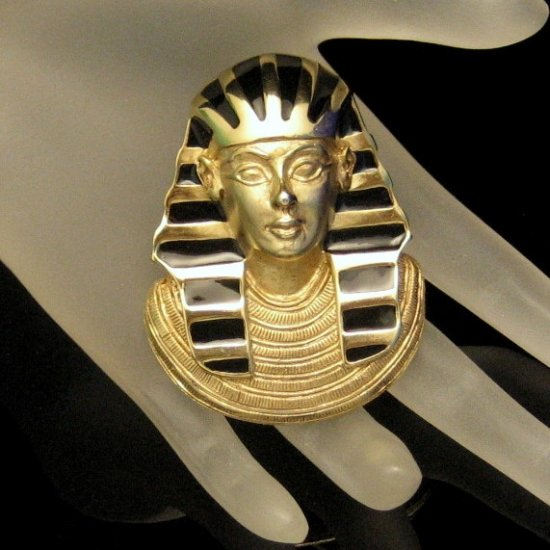 ERWIN PEARL Vintage Eqyptian Revival Pharoah Brooch Pin Pendant