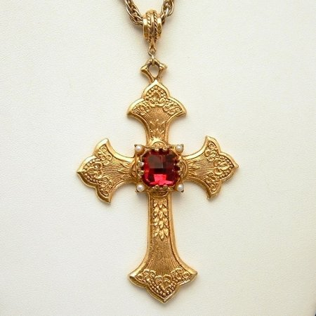 HOLLYCRAFT Necklace Large Cross Red Glass Faux Pearls
