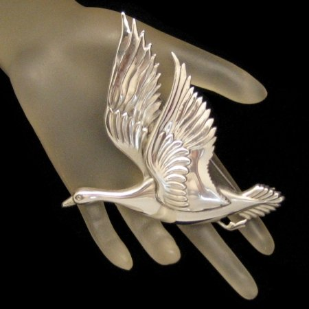 CORO STERLING CRAFT Vintage Silver Figural Goose Brooch Pin