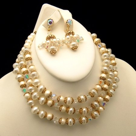 Signed ART Vintage 3 Strand Necklace Earrings Set Crystals Faux Pearls
