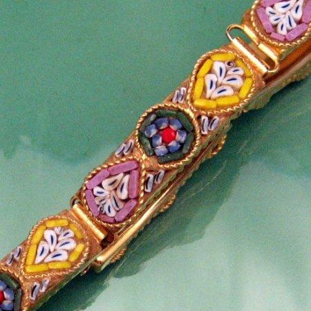 Vintage Micro Mosaic Link Bracelet Yellow Blue Pink Flowers