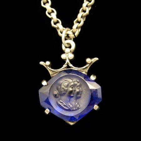 Vintage Long Necklace Dual Blue Glass Cameos Crown
