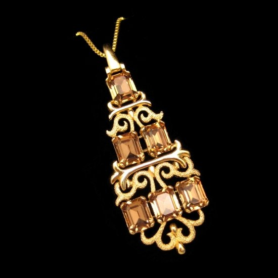 CROWN TRIFARI Vintage Necklace Large Pendant  Step Cut Glass Topaz Rhinestones