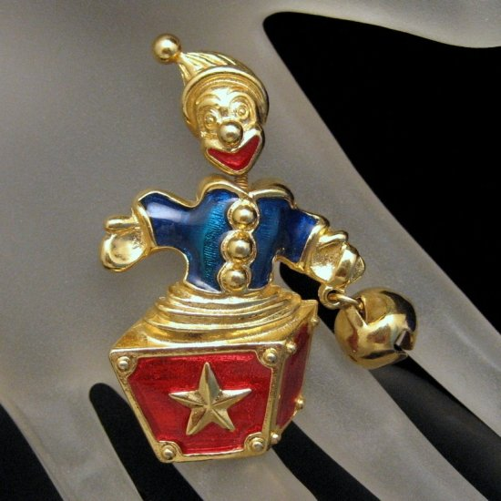 TRIFARI Brooch Pin Trembler Jack in the Box Gold Red Blue Enamel